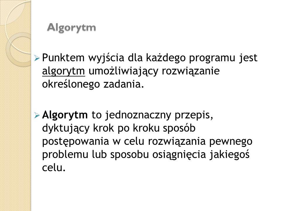 Algorytm Punktem wyjścia dla każdego programu jest algorytm umożliwiający rozwiązanie określonego zadania.