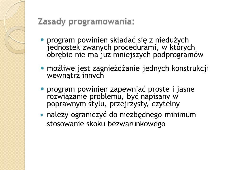 Zasady programowania: