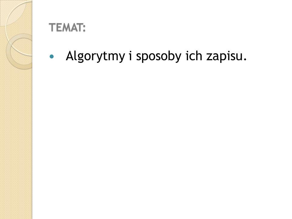 Algorytmy i sposoby ich zapisu.