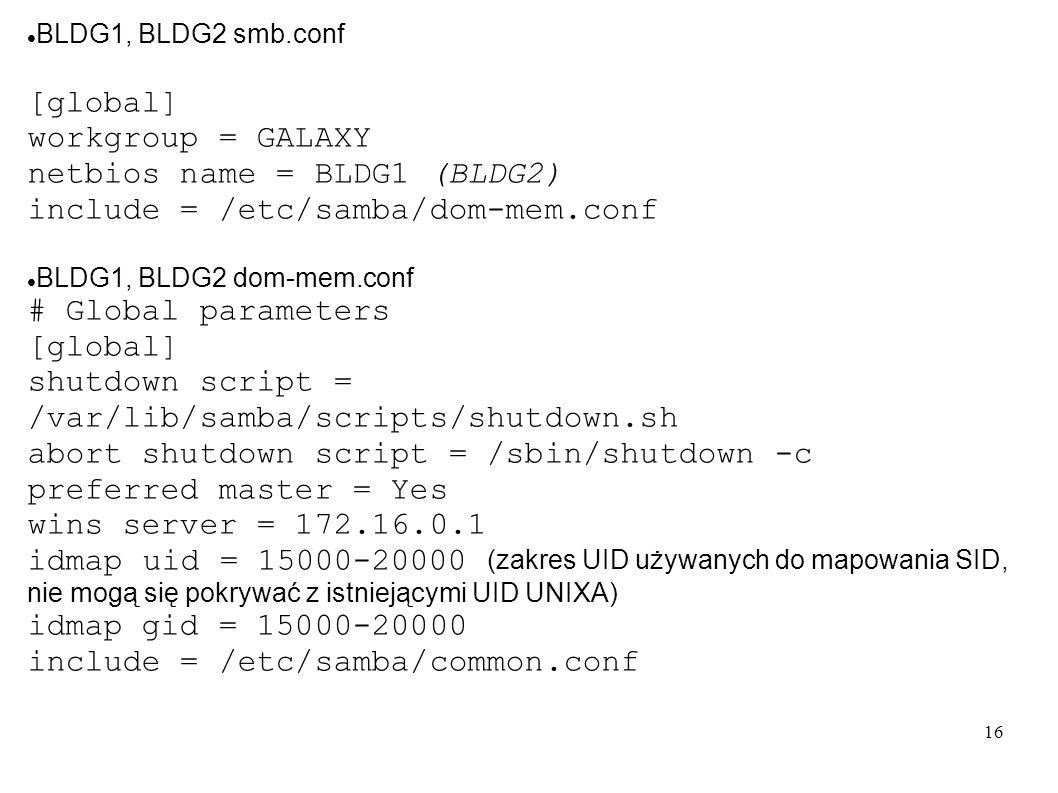 netbios name = BLDG1 (BLDG2) include = /etc/samba/dom-mem.conf