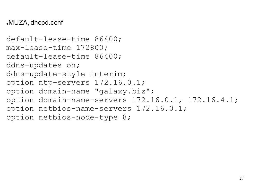 ddns-update-style interim; option ntp-servers 172.16.0.1;