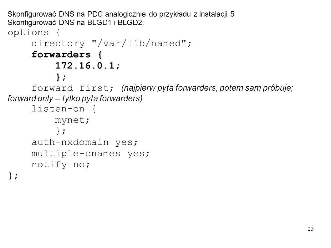 directory /var/lib/named ; forwarders { 172.16.0.1; };