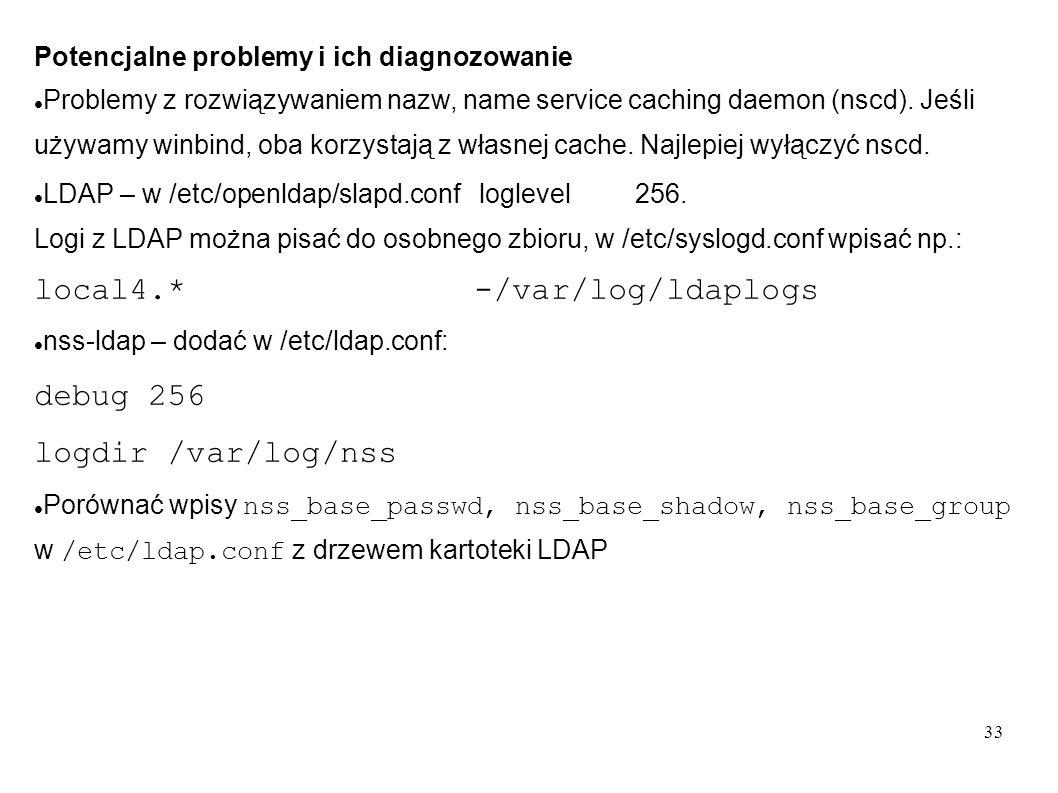 debug 256 logdir /var/log/nss Potencjalne problemy i ich diagnozowanie