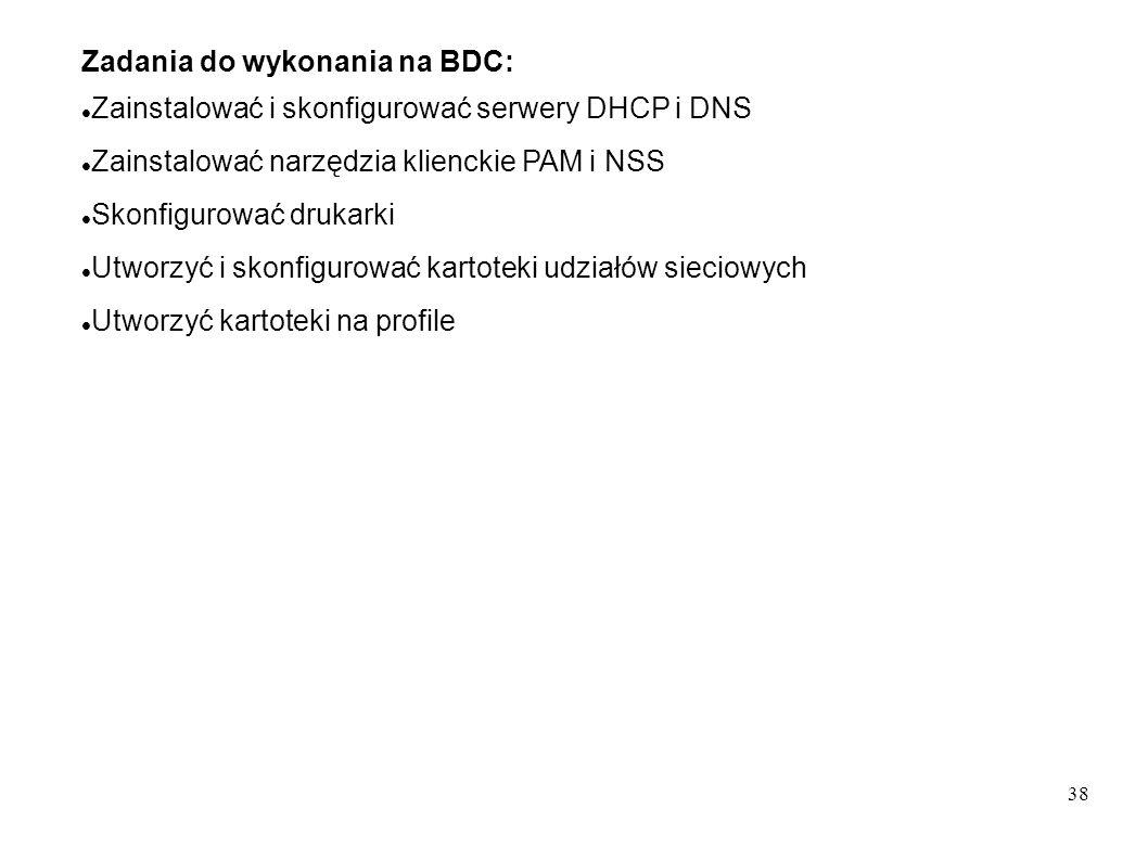 Zadania do wykonania na BDC: