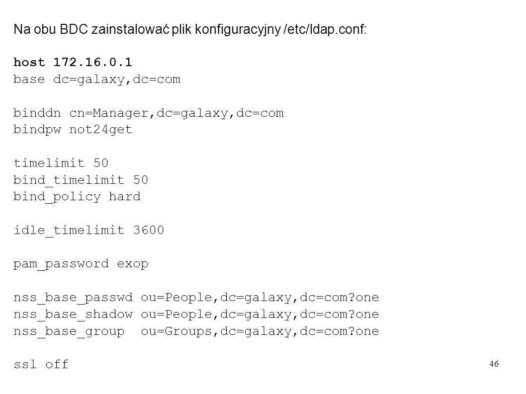 Na obu BDC zainstalować plik konfiguracyjny /etc/ldap.conf:
