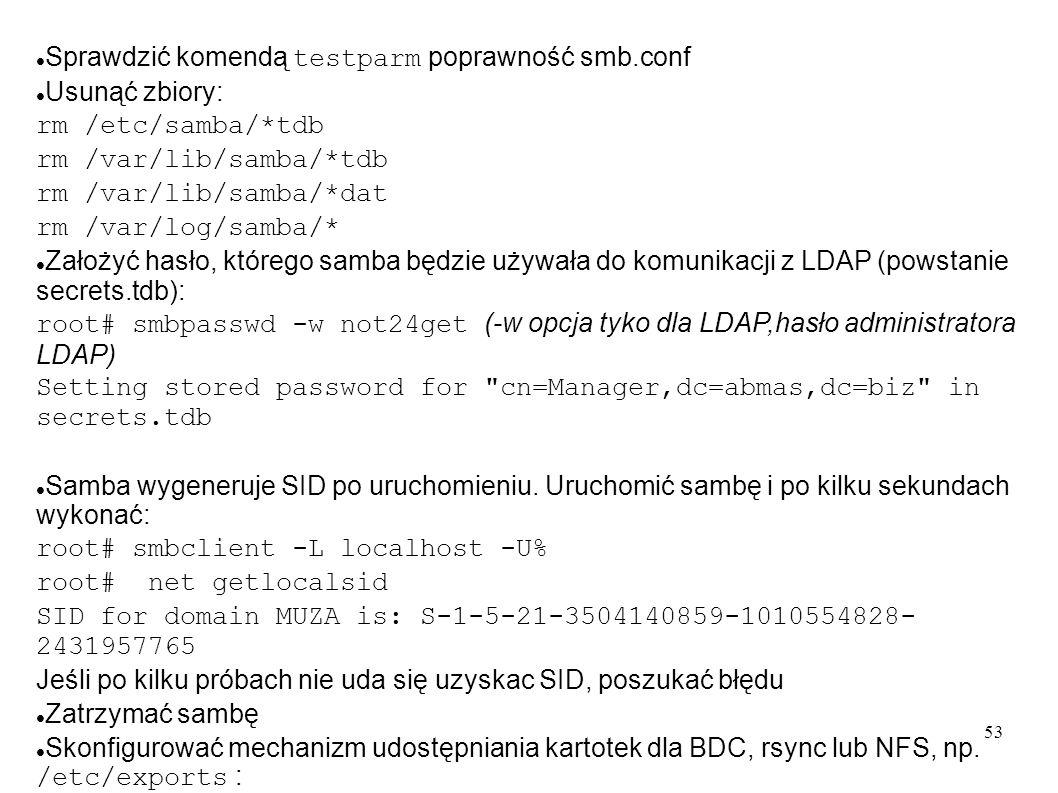 Sprawdzić komendą testparm poprawność smb.conf