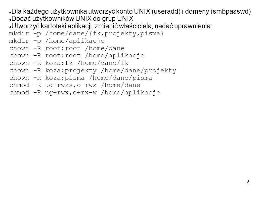 Dla każdego użytkownika utworzyć konto UNIX (useradd) i domeny (smbpasswd)