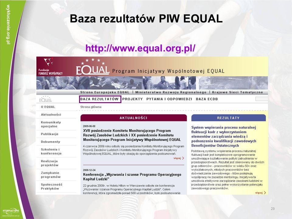 Baza rezultatów PIW EQUAL
