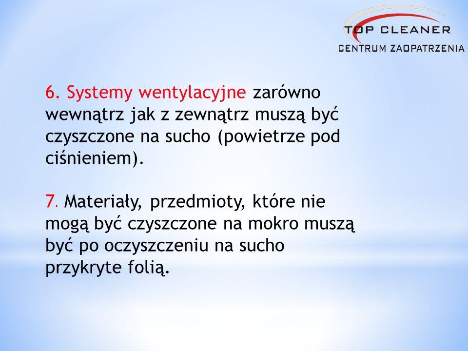 6. Systemy wentylacyjne zarówno wewnątrz jak z zewnątrz muszą być czyszczone na sucho (powietrze pod ciśnieniem).