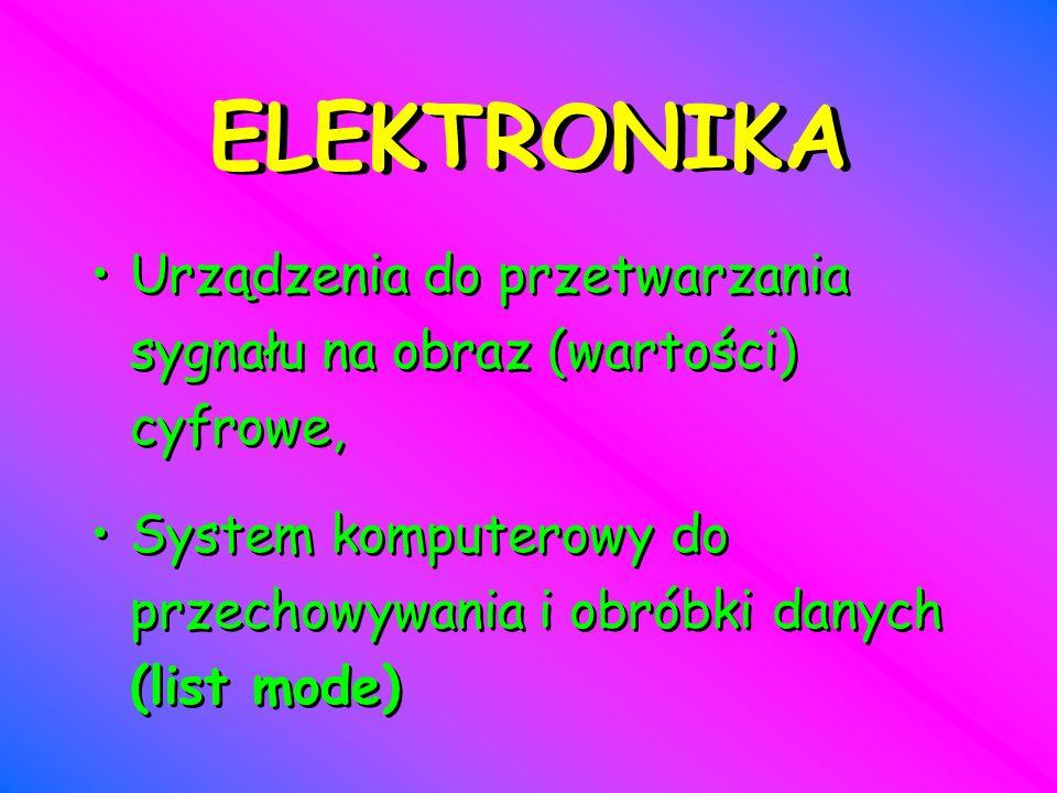 ELEKTRONIKA Urządzenia do przetwarzania sygnału na obraz (wartości) cyfrowe, System komputerowy do przechowywania i obróbki danych (list mode)