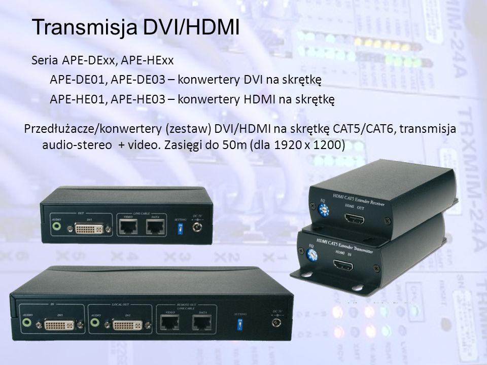 Transmisja DVI/HDMI Seria APE-DExx, APE-HExx APE-DE01, APE-DE03 – konwertery DVI na skrętkę APE-HE01, APE-HE03 – konwertery HDMI na skrętkę