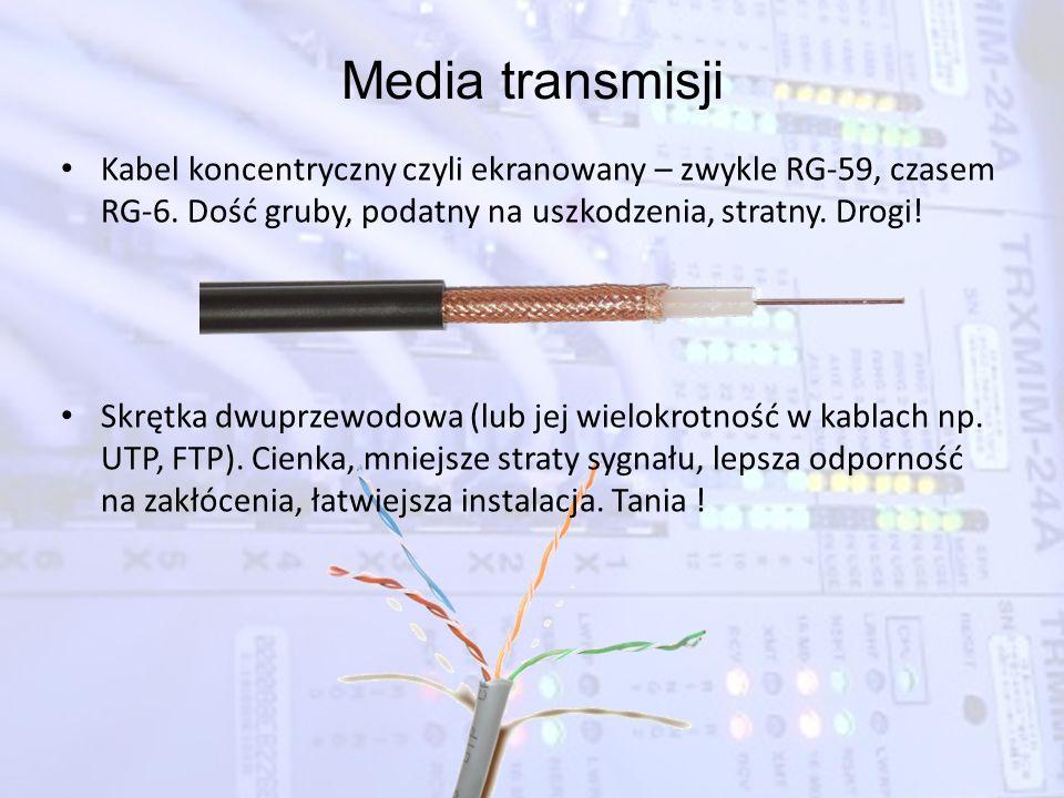 Media transmisji Kabel koncentryczny czyli ekranowany – zwykle RG-59, czasem RG-6. Dość gruby, podatny na uszkodzenia, stratny. Drogi!
