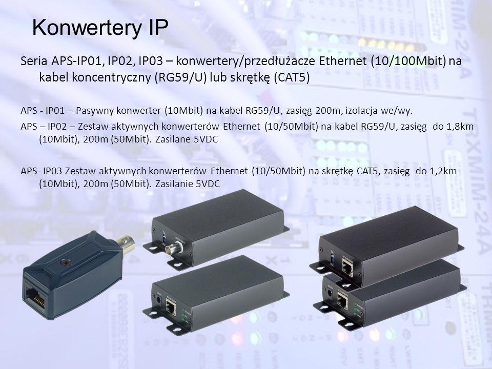 Konwertery IP Seria APS-IP01, IP02, IP03 – konwertery/przedłużacze Ethernet (10/100Mbit) na kabel koncentryczny (RG59/U) lub skrętkę (CAT5)