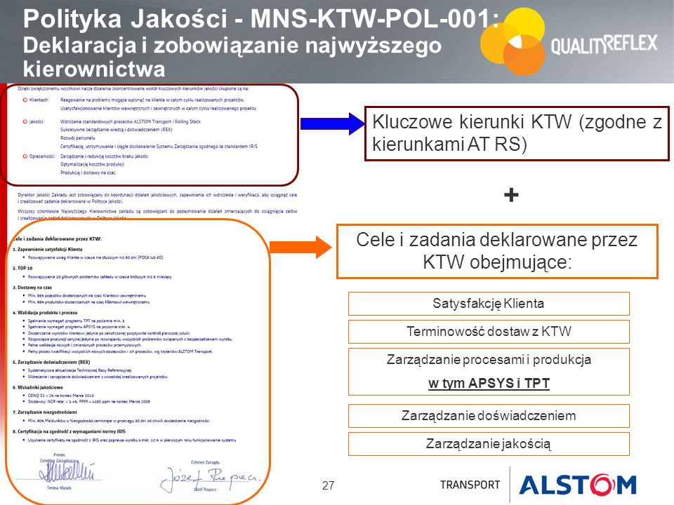 Polityka Jakości - MNS-KTW-POL-001: Deklaracja i zobowiązanie najwyższego kierownictwa