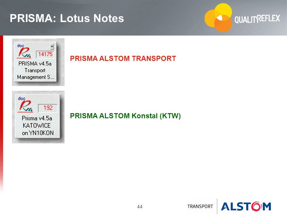 PRISMA: Lotus Notes PRISMA ALSTOM TRANSPORT