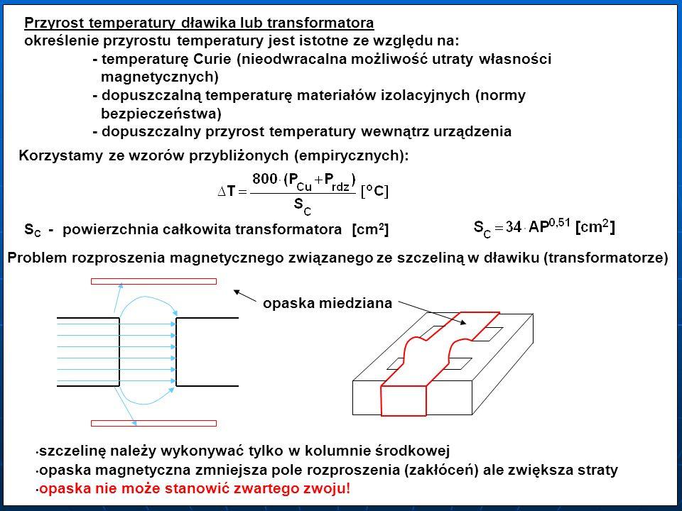 Przyrost temperatury dławika lub transformatora
