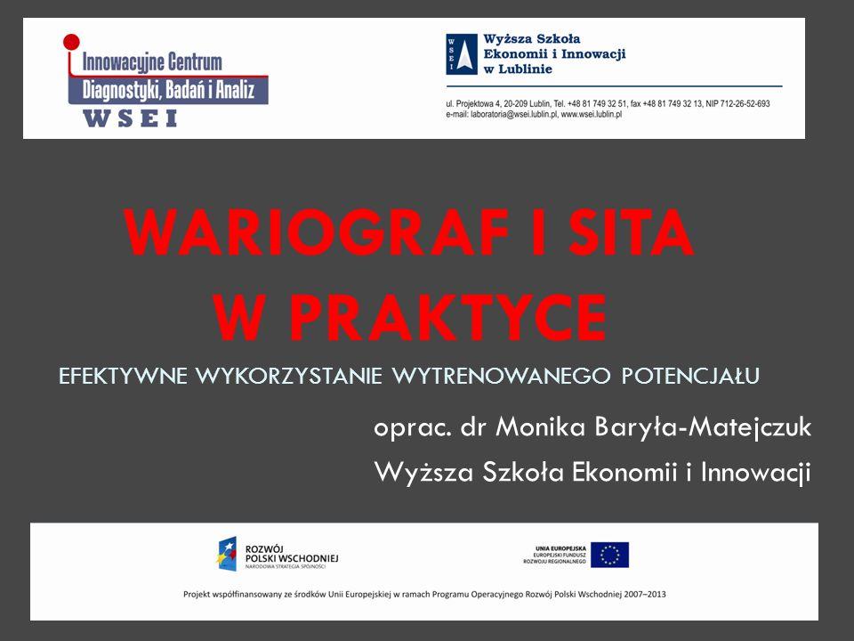 oprac. dr Monika Baryła-Matejczuk Wyższa Szkoła Ekonomii i Innowacji