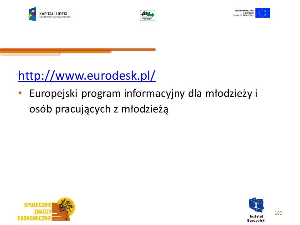 http://www.eurodesk.pl/ Europejski program informacyjny dla młodzieży i osób pracujących z młodzieżą.