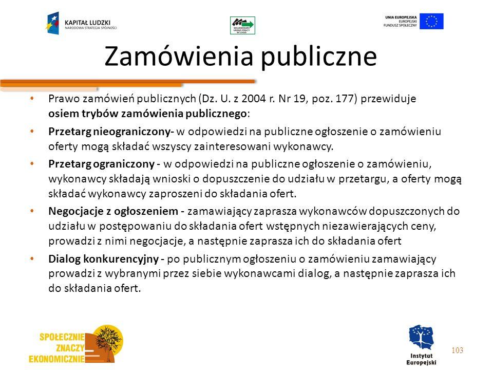 Zamówienia publiczne Prawo zamówień publicznych (Dz. U. z 2004 r. Nr 19, poz. 177) przewiduje osiem trybów zamówienia publicznego: