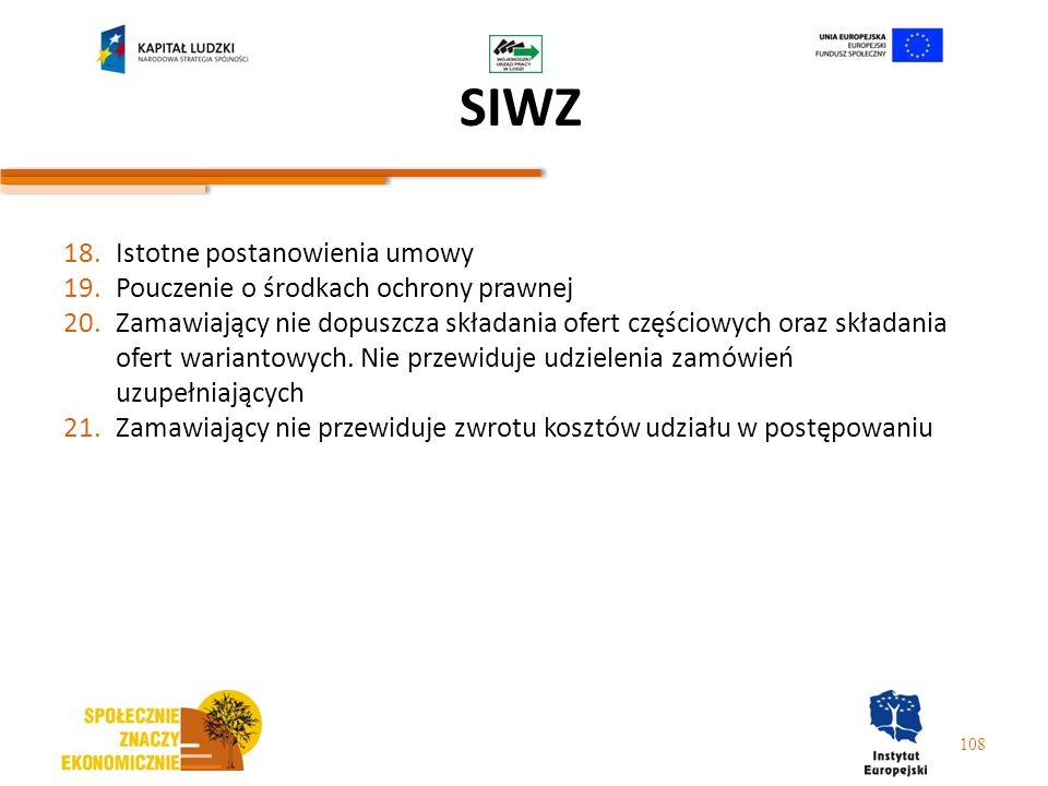 SIWZ Istotne postanowienia umowy Pouczenie o środkach ochrony prawnej