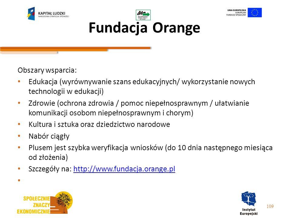 Fundacja Orange Obszary wsparcia: