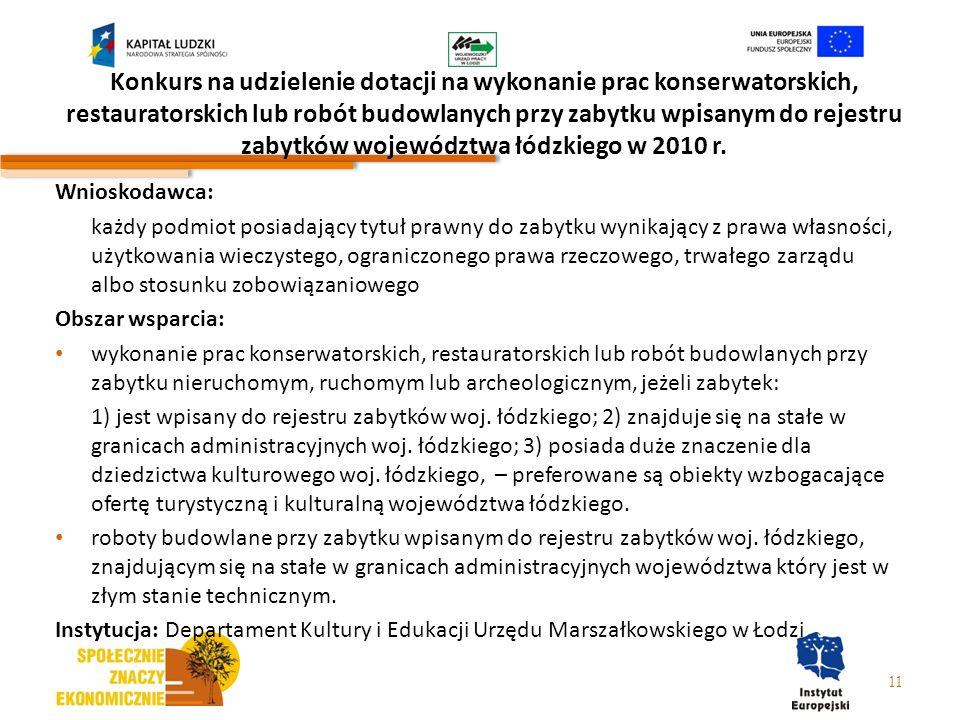 Konkurs na udzielenie dotacji na wykonanie prac konserwatorskich, restauratorskich lub robót budowlanych przy zabytku wpisanym do rejestru zabytków województwa łódzkiego w 2010 r.