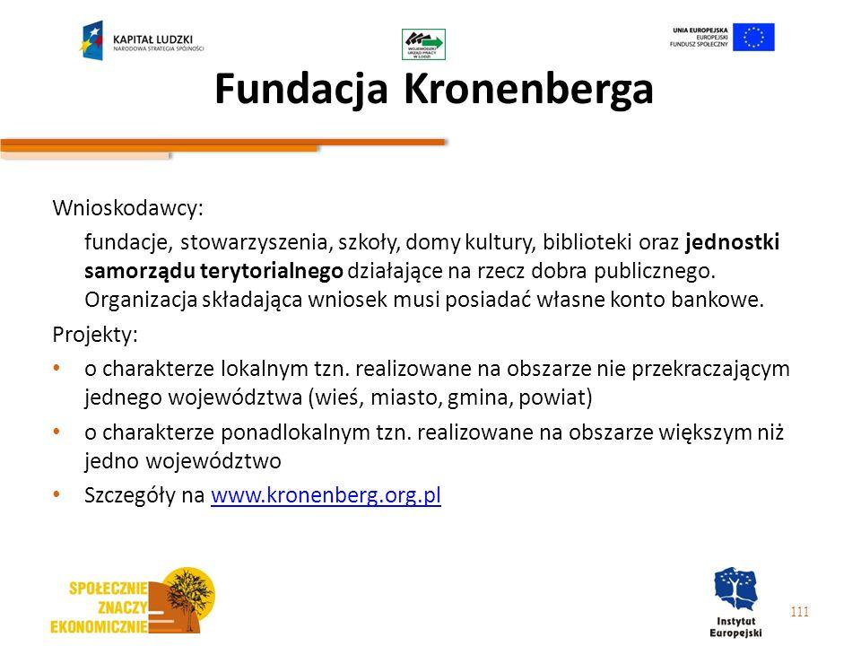 Fundacja Kronenberga Wnioskodawcy: