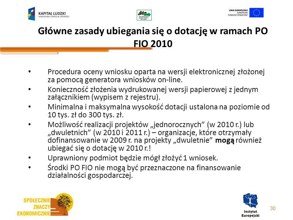 Główne zasady ubiegania się o dotację w ramach PO FIO 2010