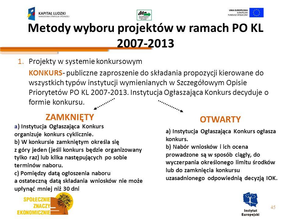 Metody wyboru projektów w ramach PO KL 2007-2013