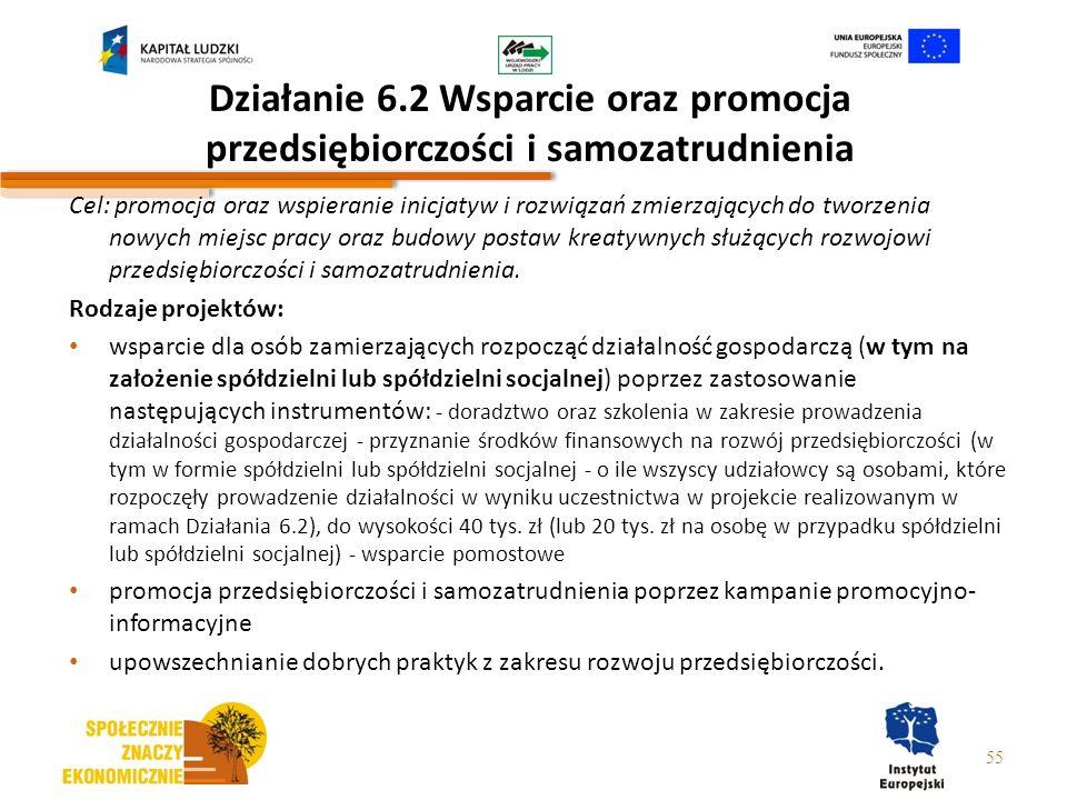 Działanie 6.2 Wsparcie oraz promocja przedsiębiorczości i samozatrudnienia