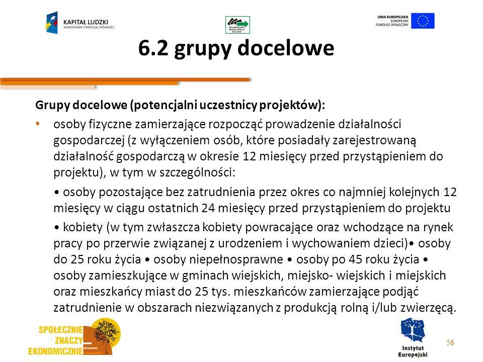 6.2 grupy docelowe Grupy docelowe (potencjalni uczestnicy projektów):