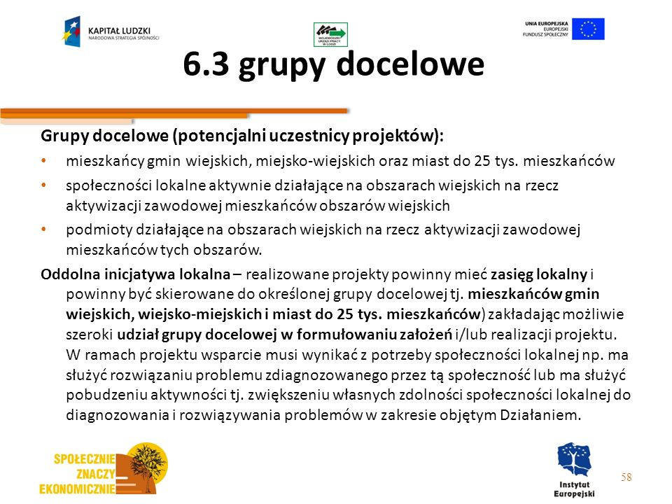 6.3 grupy docelowe Grupy docelowe (potencjalni uczestnicy projektów):