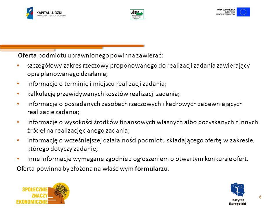 informacje o terminie i miejscu realizacji zadania;