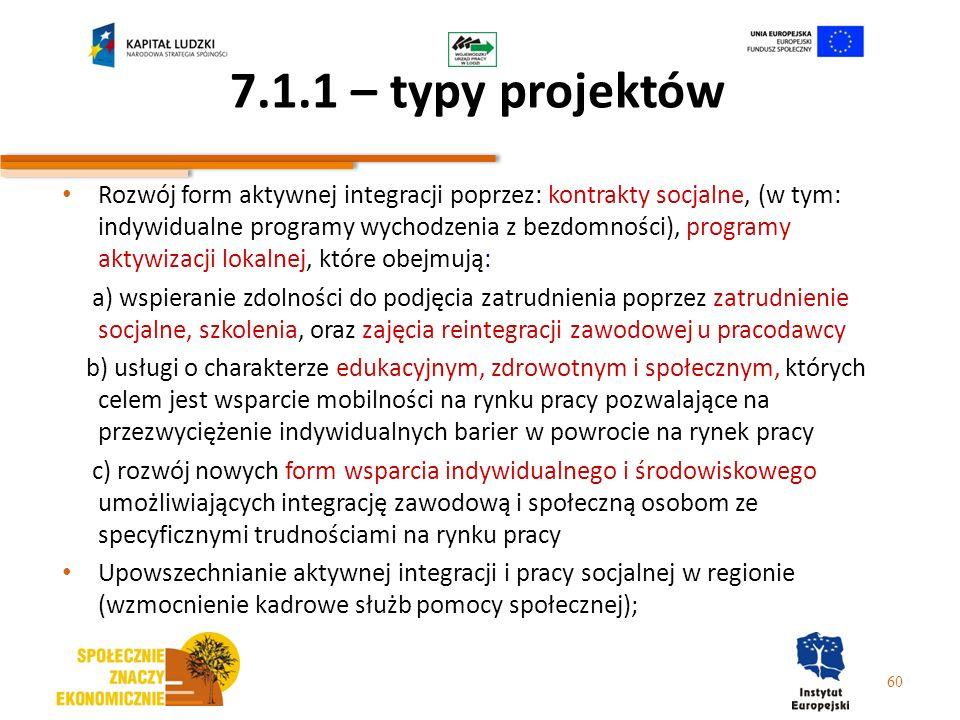 7.1.1 – typy projektów