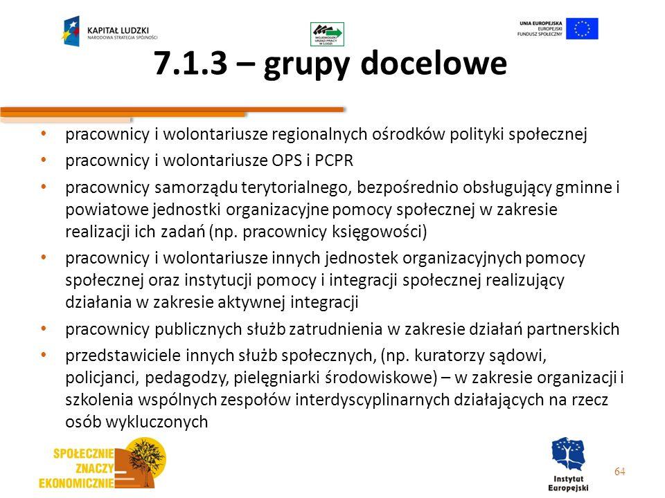 7.1.3 – grupy docelowepracownicy i wolontariusze regionalnych ośrodków polityki społecznej. pracownicy i wolontariusze OPS i PCPR.
