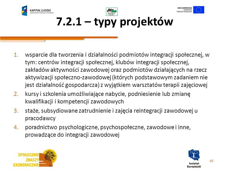 7.2.1 – typy projektów