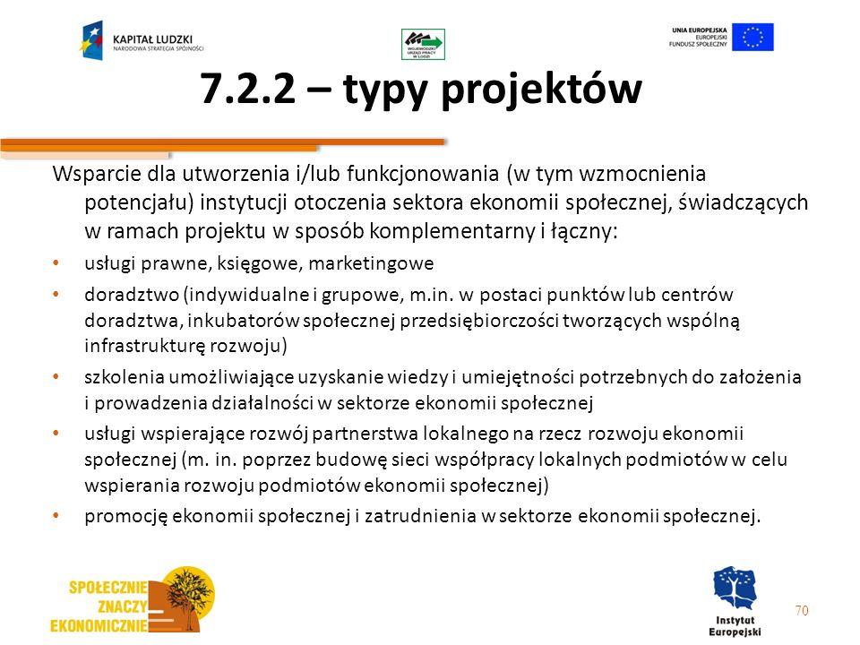 7.2.2 – typy projektów