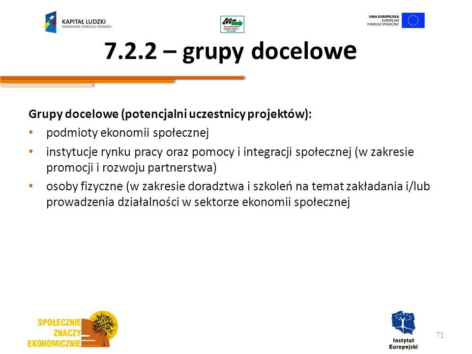 7.2.2 – grupy docelowe Grupy docelowe (potencjalni uczestnicy projektów): podmioty ekonomii społecznej.