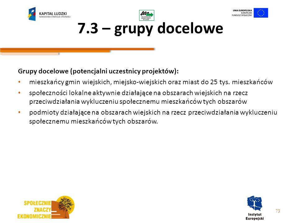 7.3 – grupy docelowe Grupy docelowe (potencjalni uczestnicy projektów):