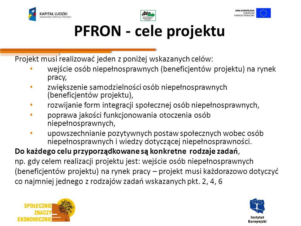 PFRON - cele projektu Projekt musi realizować jeden z poniżej wskazanych celów: