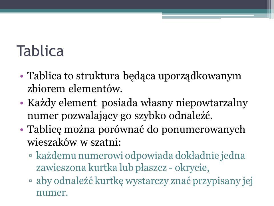 Tablica Tablica to struktura będąca uporządkowanym zbiorem elementów.