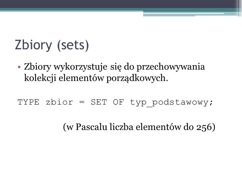Zbiory (sets) Zbiory wykorzystuje się do przechowywania kolekcji elementów porządkowych. TYPE zbior = SET OF typ_podstawowy;