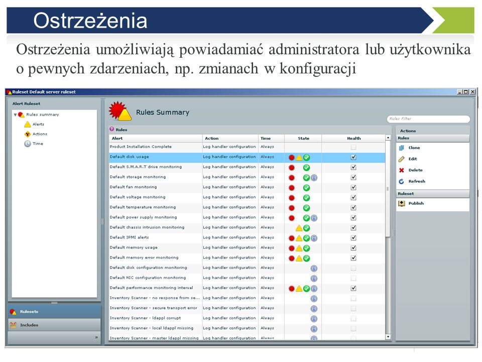 OstrzeżeniaOstrzeżenia umożliwiają powiadamiać administratora lub użytkownika.