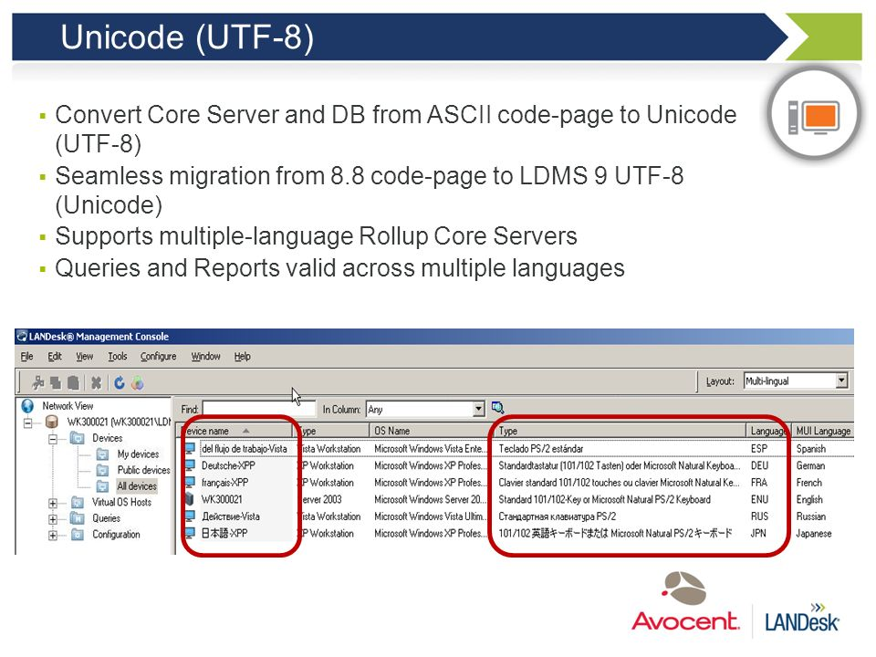 Unicode (UTF-8) Convert Core Server and DB from ASCII code-page to Unicode (UTF-8) Seamless migration from 8.8 code-page to LDMS 9 UTF-8 (Unicode)