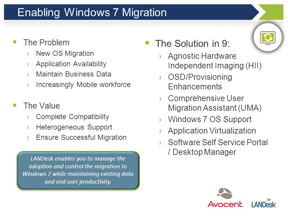 Enabling Windows 7 Migration