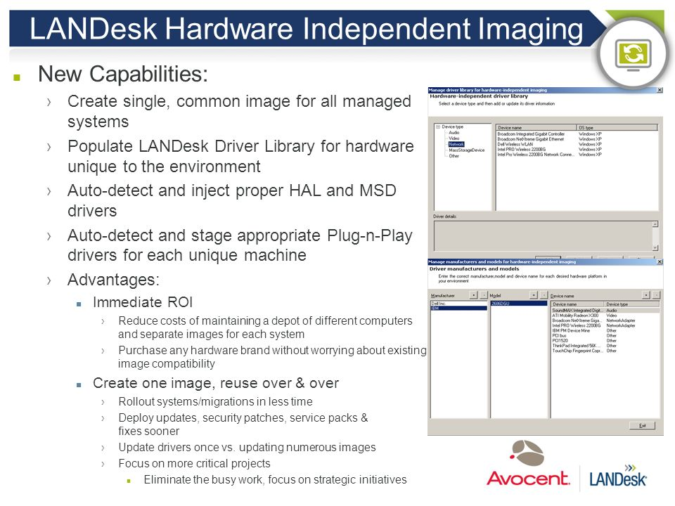LANDesk Hardware Independent Imaging