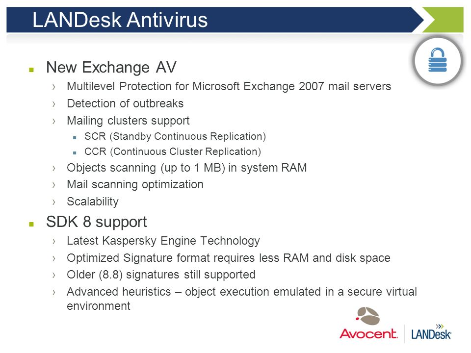 LANDesk Antivirus New Exchange AV SDK 8 support