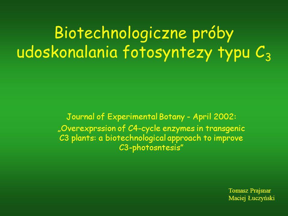 Biotechnologiczne próby udoskonalania fotosyntezy typu C3