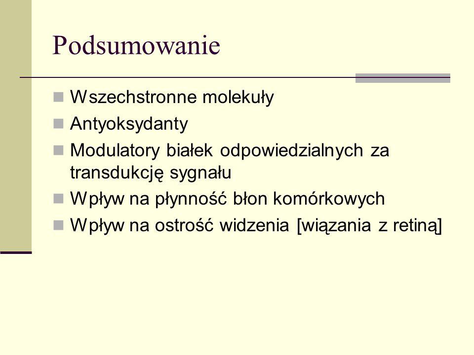 Podsumowanie Wszechstronne molekuły Antyoksydanty