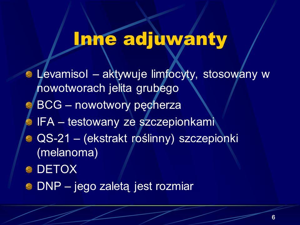 Inne adjuwantyLevamisol – aktywuje limfocyty, stosowany w nowotworach jelita grubego. BCG – nowotwory pęcherza.